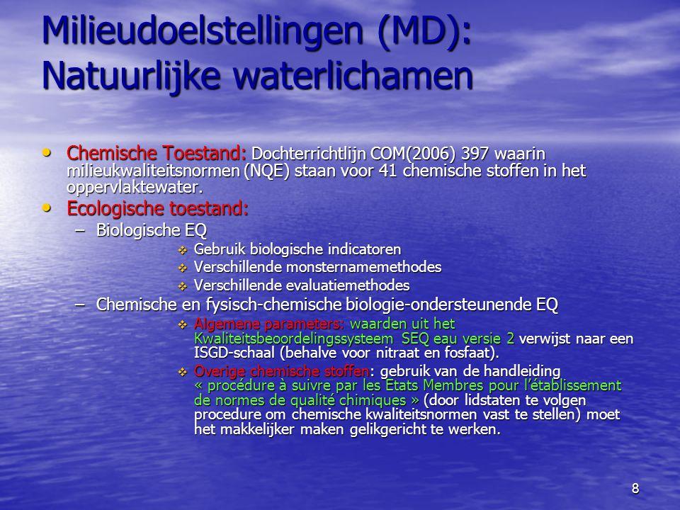 8 Milieudoelstellingen (MD): Natuurlijke waterlichamen Chemische Toestand: Dochterrichtlijn COM(2006) 397 waarin milieukwaliteitsnormen (NQE) staan voor 41 chemische stoffen in het oppervlaktewater.