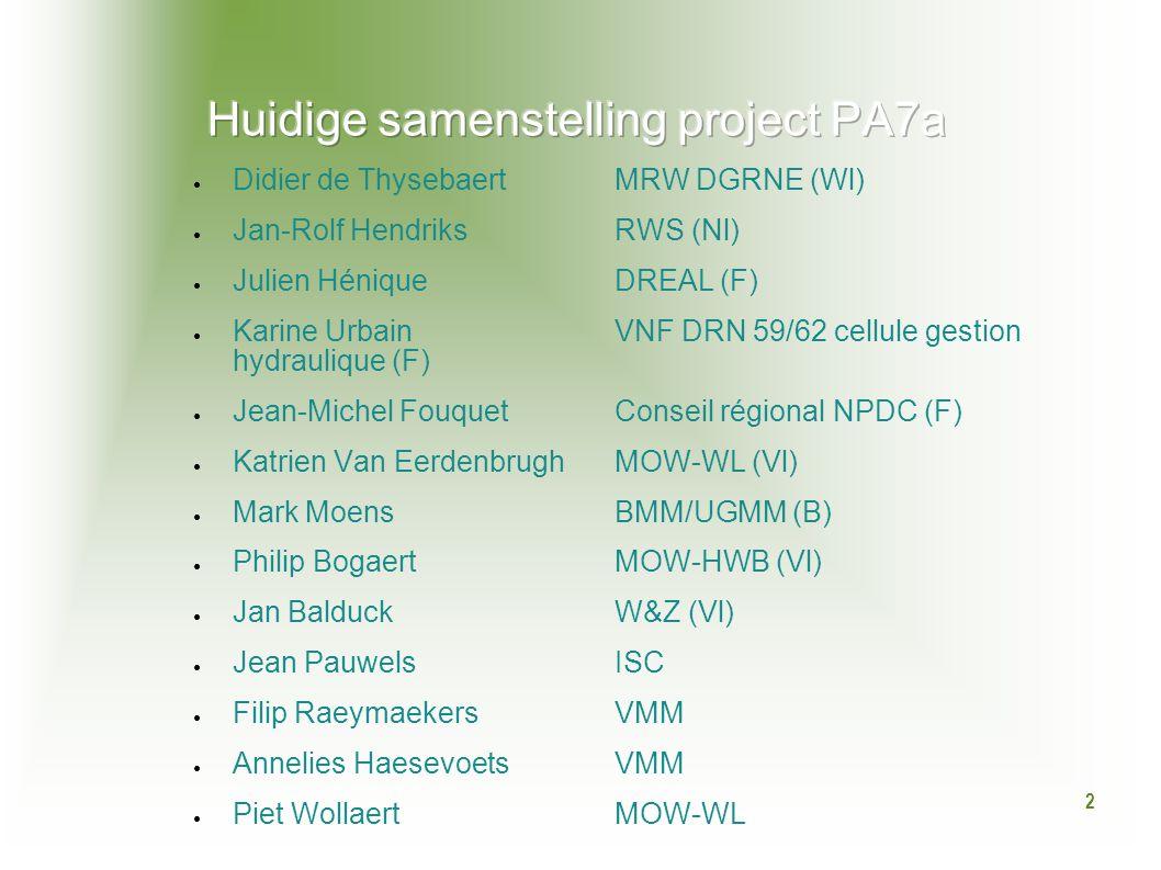 2 ● Didier de Thysebaert MRW DGRNE (Wl) ● Jan-Rolf HendriksRWS (Nl) ● Julien HéniqueDREAL (F) ● Karine UrbainVNF DRN 59/62 cellule gestion hydraulique