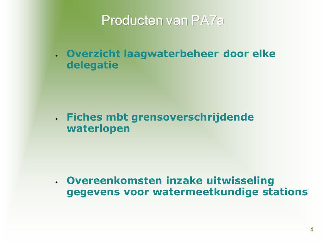 4 ● Overzicht laagwaterbeheer door elke delegatie ● Fiches mbt grensoverschrijdende waterlopen ● Overeenkomsten inzake uitwisseling gegevens voor wate