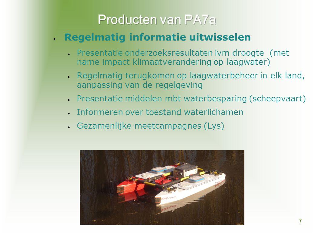 7 ● Regelmatig informatie uitwisselen ● Presentatie onderzoeksresultaten ivm droogte (met name impact klimaatverandering op laagwater) ● Regelmatig te