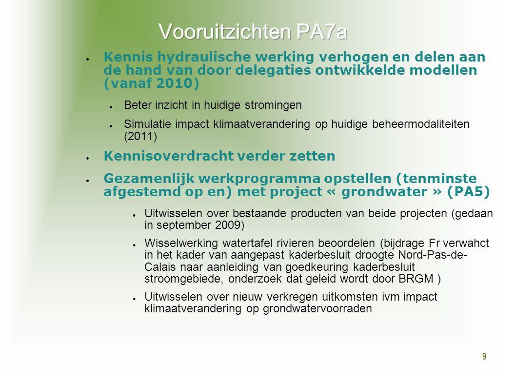 9 ● Kennis hydraulische werking verhogen en delen aan de hand van door delegaties ontwikkelde modellen (vanaf 2010) ● Beter inzicht in huidige stromin