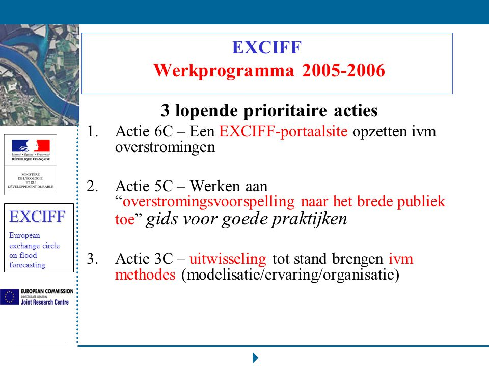 EXCIFF European exchange circle on flood forecasting EXCIFF Werkprogramma 2005-2006 3 lopende prioritaire acties 1.Actie 6C – Een EXCIFF-portaalsite o