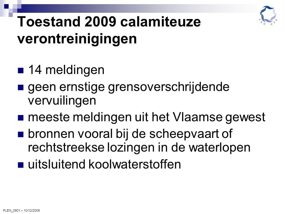 PLEN_0901 – 10/12/2009 Toestand 2009 calamiteuze verontreinigingen 14 meldingen geen ernstige grensoverschrijdende vervuilingen meeste meldingen uit het Vlaamse gewest bronnen vooral bij de scheepvaart of rechtstreekse lozingen in de waterlopen uitsluitend koolwaterstoffen