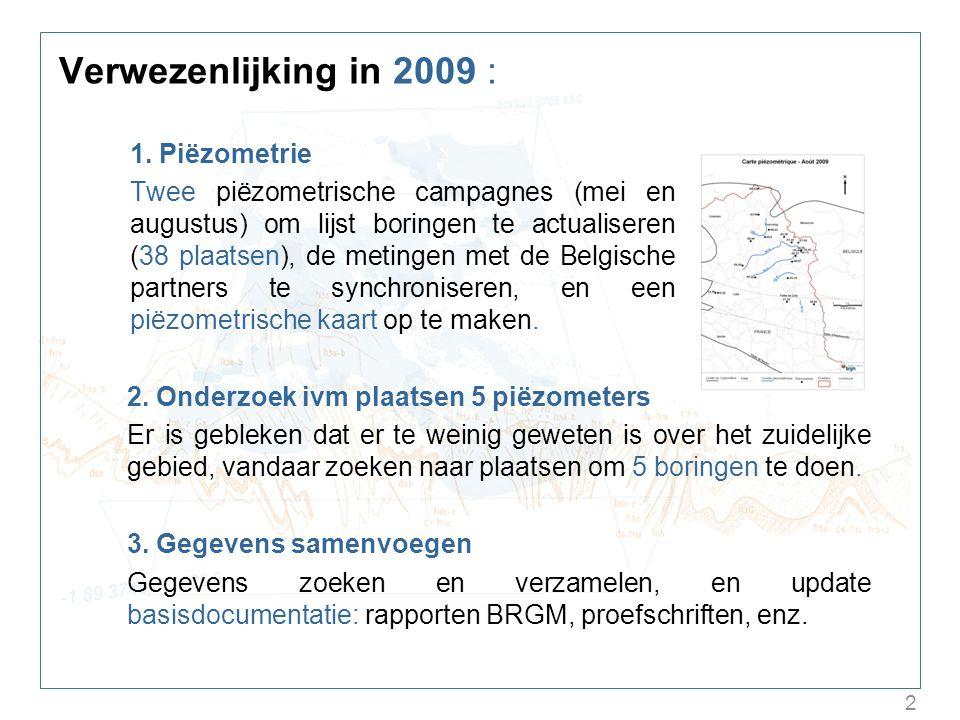 2 Verwezenlijking in 2009 : 1. Piëzometrie Twee piëzometrische campagnes (mei en augustus) om lijst boringen te actualiseren (38 plaatsen), de metinge