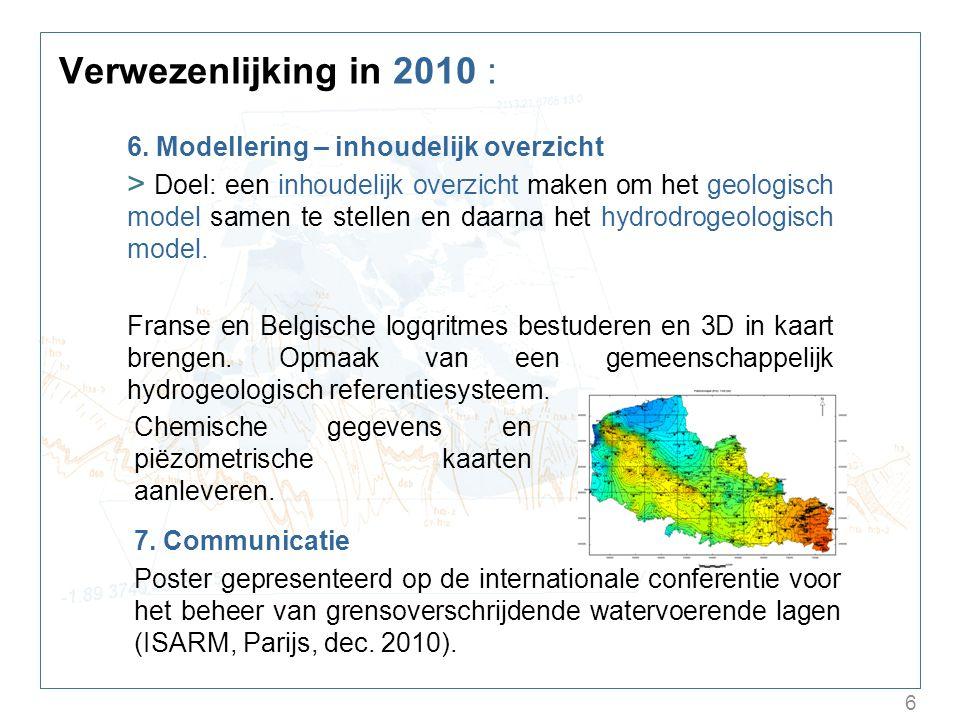 6 Verwezenlijking in 2010 : 6. Modellering – inhoudelijk overzicht > Doel: een inhoudelijk overzicht maken om het geologisch model samen te stellen en