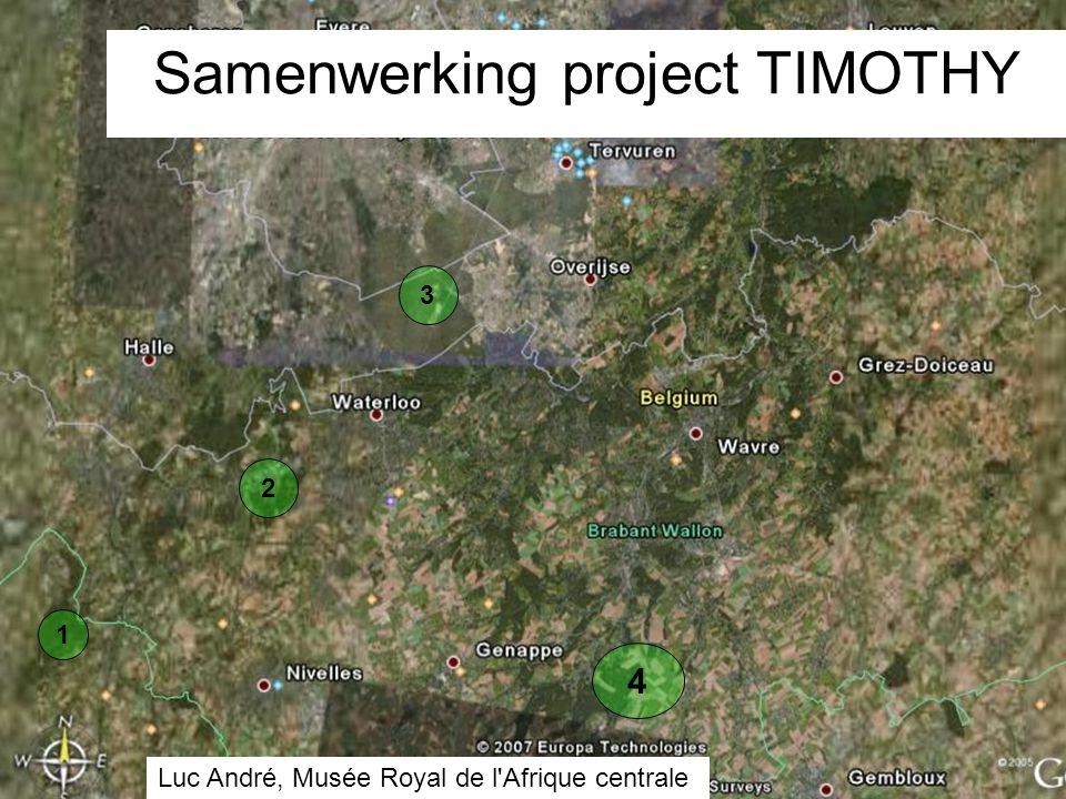 1 4 3 2 Samenwerking project TIMOTHY Luc André, Musée Royal de l Afrique centrale