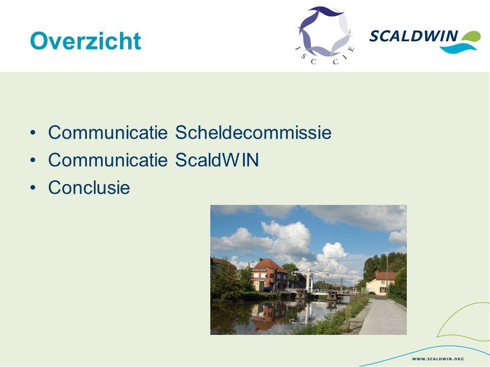 Communicatie Scheldecommissie  Doelstelling  ISC-acties kenbaar maken en erkenning geven  Uitwisseling van informatie en meningen bevorderen.