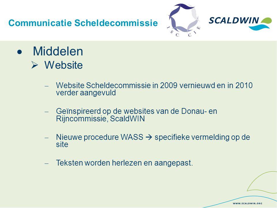Communicatie Scheldecommissie  Middelen  Website  Website Scheldecommissie in 2009 vernieuwd en in 2010 verder aangevuld  Geïnspireerd op de websi