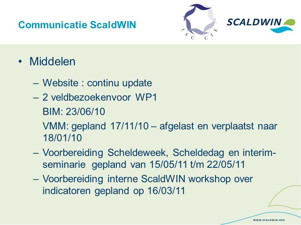 Communicatie ScaldWIN Middelen –Website : continu update –2 veldbezoekenvoor WP1 BIM: 23/06/10 VMM: gepland 17/11/10 – afgelast en verplaatst naar 18/