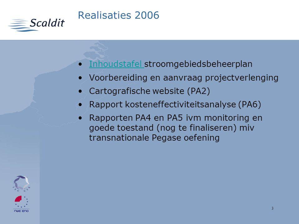 3 Realisaties 2006 Inhoudstafel stroomgebiedsbeheerplanInhoudstafel Voorbereiding en aanvraag projectverlenging Cartografische website (PA2) Rapport kosteneffectiviteitsanalyse (PA6) Rapporten PA4 en PA5 ivm monitoring en goede toestand (nog te finaliseren) miv transnationale Pegase oefening
