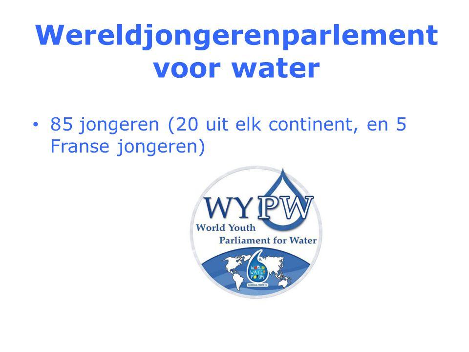 Wereldjongerenparlement voor water 85 jongeren (20 uit elk continent, en 5 Franse jongeren)