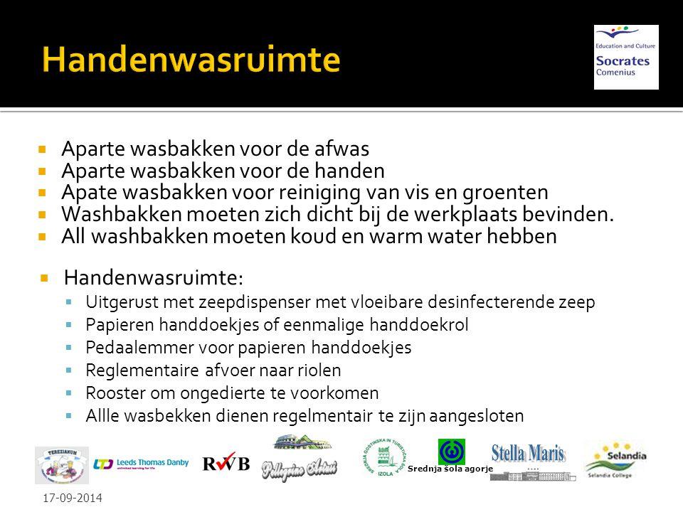  Aparte wasbakken voor de afwas  Aparte wasbakken voor de handen  Apate wasbakken voor reiniging van vis en groenten  Washbakken moeten zich dicht bij de werkplaats bevinden.
