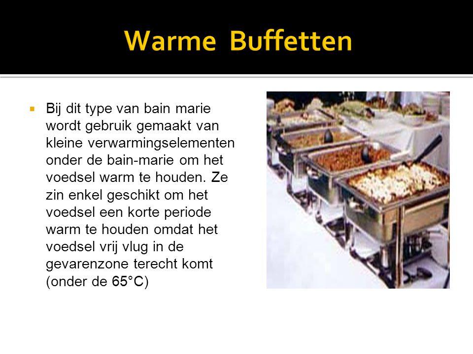  Bij dit type van bain marie wordt gebruik gemaakt van kleine verwarmingselementen onder de bain-marie om het voedsel warm te houden.