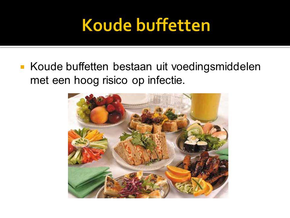  Koude buffetten bestaan uit voedingsmiddelen met een hoog risico op infectie.