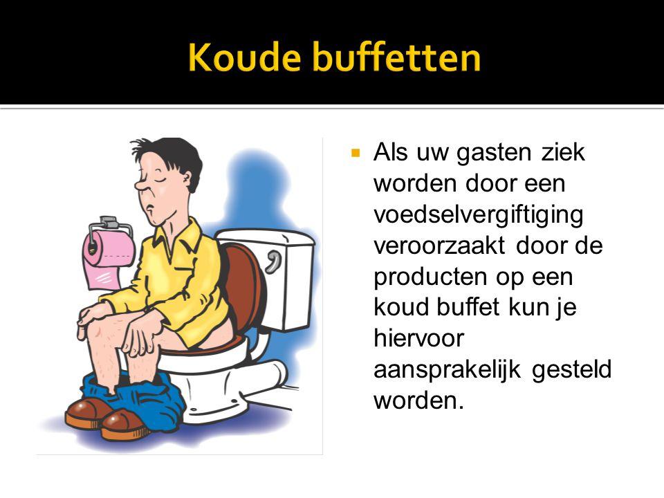  Warme buffetten kunnen ook problemen veroorzaken indien de temperatuur van het voedsel lager is dan 65°C.