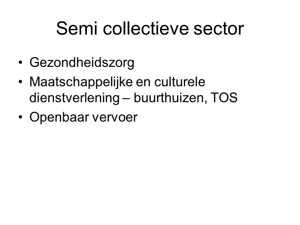 Collectieve sector + semi-collectieve sector = budget sector Budgetsector + kerken + vakbonden + verenigingen = quartaire sector
