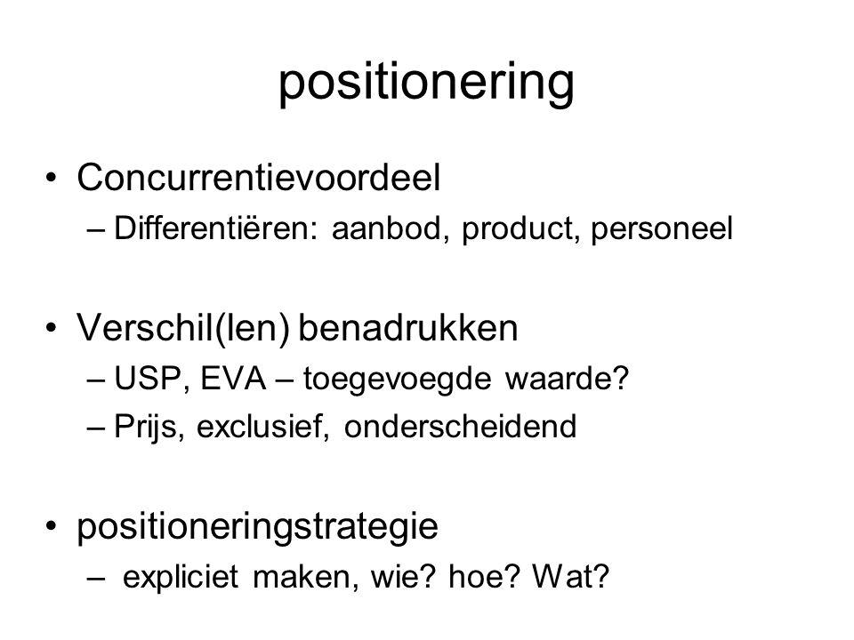 positionering Concurrentievoordeel –Differentiëren: aanbod, product, personeel Verschil(len) benadrukken –USP, EVA – toegevoegde waarde? –Prijs, exclu