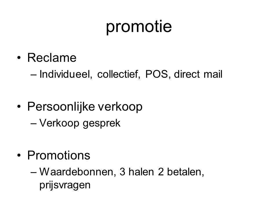 promotie Reclame –Individueel, collectief, POS, direct mail Persoonlijke verkoop –Verkoop gesprek Promotions –Waardebonnen, 3 halen 2 betalen, prijsvr