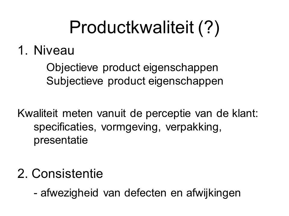 Productkwaliteit (?) 1.Niveau Objectieve product eigenschappen Subjectieve product eigenschappen Kwaliteit meten vanuit de perceptie van de klant: spe