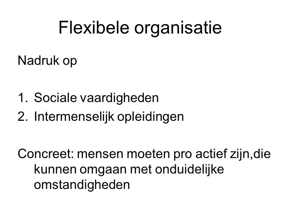 Flexibele organisatie Nadruk op 1.Sociale vaardigheden 2.Intermenselijk opleidingen Concreet: mensen moeten pro actief zijn,die kunnen omgaan met onduidelijke omstandigheden