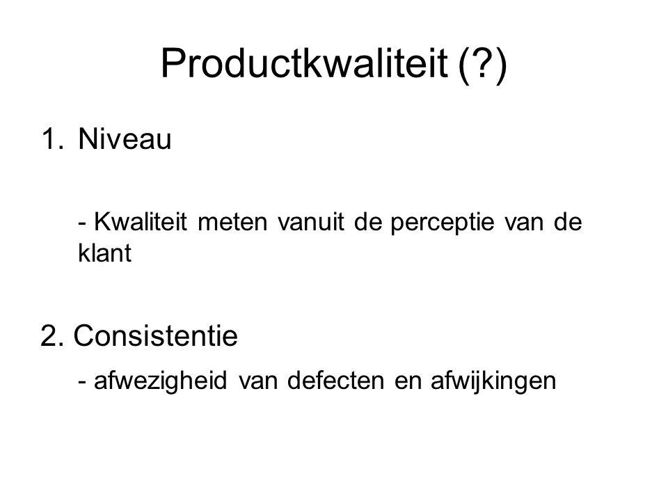 Productkwaliteit (?) 1.Niveau - Kwaliteit meten vanuit de perceptie van de klant 2. Consistentie - afwezigheid van defecten en afwijkingen