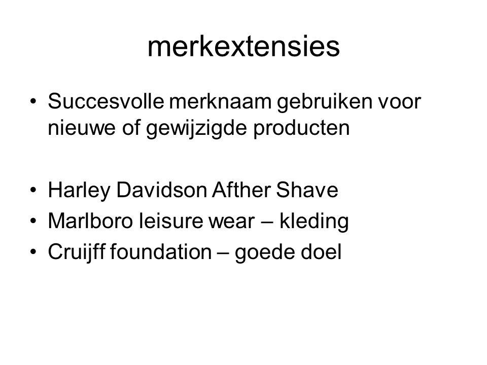 merkextensies Succesvolle merknaam gebruiken voor nieuwe of gewijzigde producten Harley Davidson Afther Shave Marlboro leisure wear – kleding Cruijff foundation – goede doel