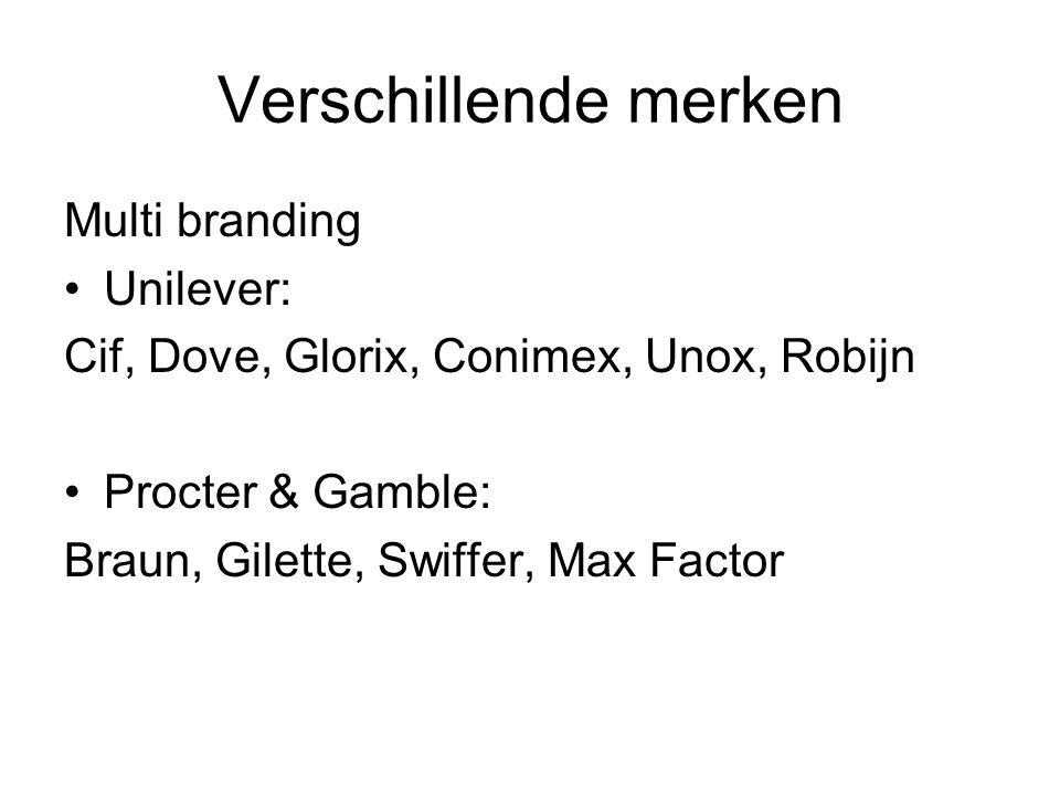 Verschillende merken Multi branding Unilever: Cif, Dove, Glorix, Conimex, Unox, Robijn Procter & Gamble: Braun, Gilette, Swiffer, Max Factor