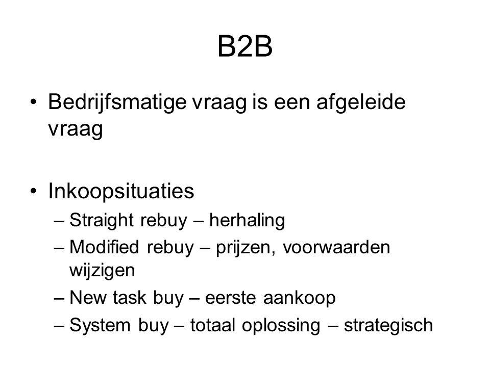 B2B Bedrijfsmatige vraag is een afgeleide vraag Inkoopsituaties –Straight rebuy – herhaling –Modified rebuy – prijzen, voorwaarden wijzigen –New task buy – eerste aankoop –System buy – totaal oplossing – strategisch