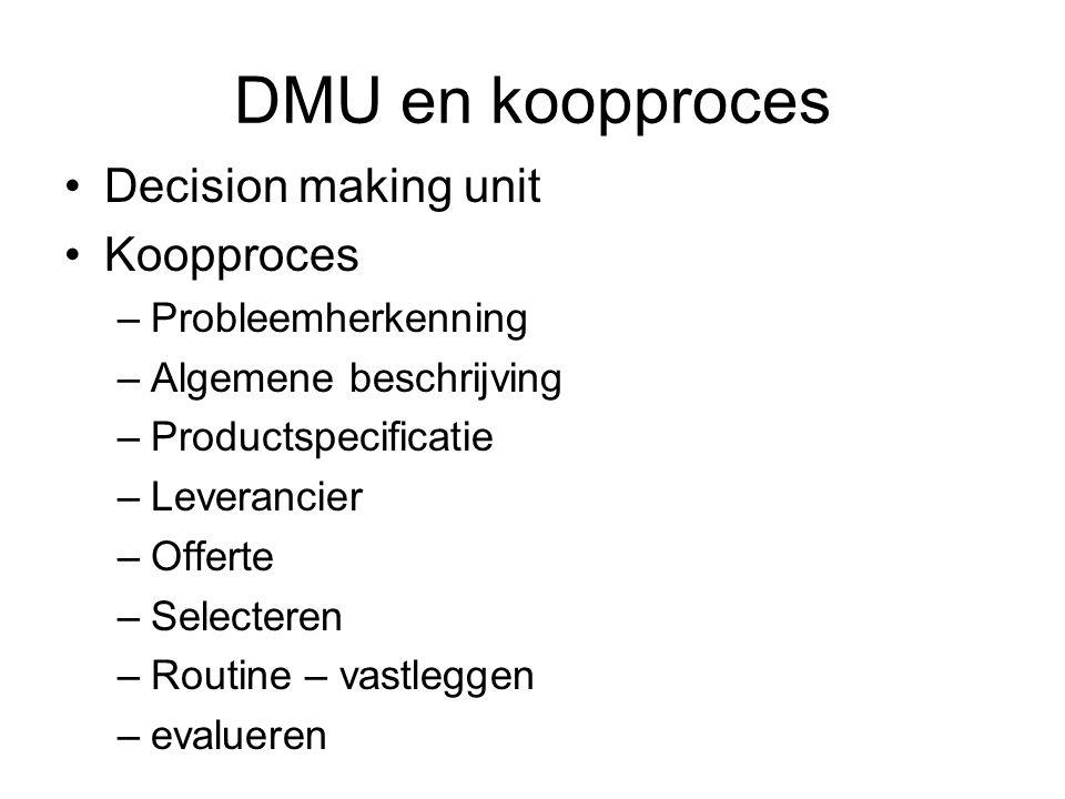DMU en koopproces Decision making unit Koopproces –Probleemherkenning –Algemene beschrijving –Productspecificatie –Leverancier –Offerte –Selecteren –Routine – vastleggen –evalueren