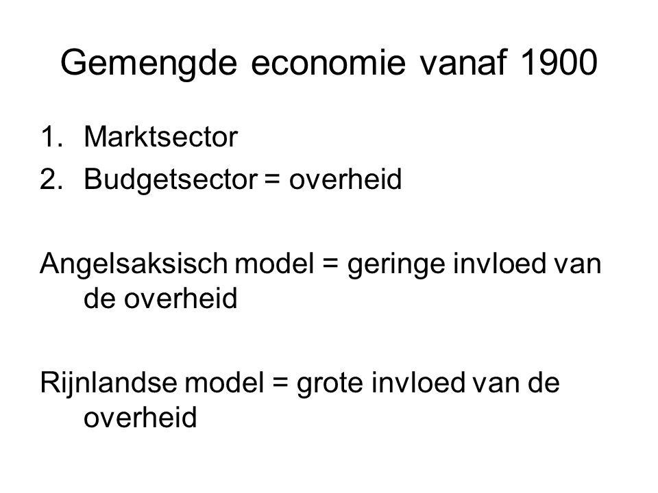 Gemengde economie vanaf 1900 1.Marktsector 2.Budgetsector = overheid Angelsaksisch model = geringe invloed van de overheid Rijnlandse model = grote invloed van de overheid