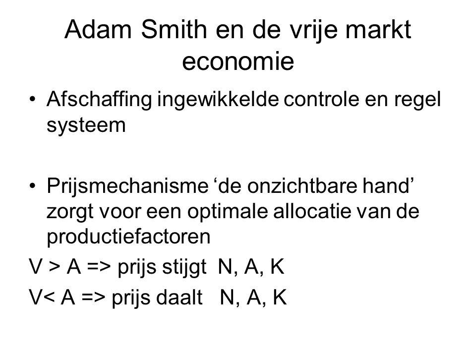 Adam Smith en de vrije markt economie Afschaffing ingewikkelde controle en regel systeem Prijsmechanisme 'de onzichtbare hand' zorgt voor een optimale allocatie van de productiefactoren V > A => prijs stijgt N, A, K V prijs daalt N, A, K