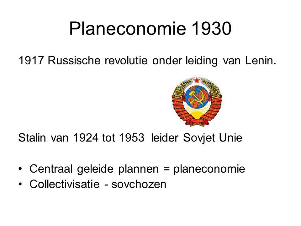 Planeconomie 1930 1917 Russische revolutie onder leiding van Lenin.