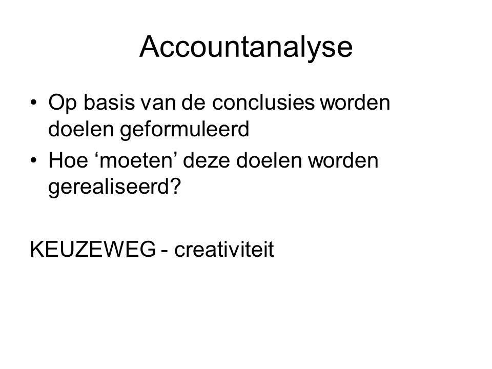 Accountanalyse Op basis van de conclusies worden doelen geformuleerd Hoe 'moeten' deze doelen worden gerealiseerd.