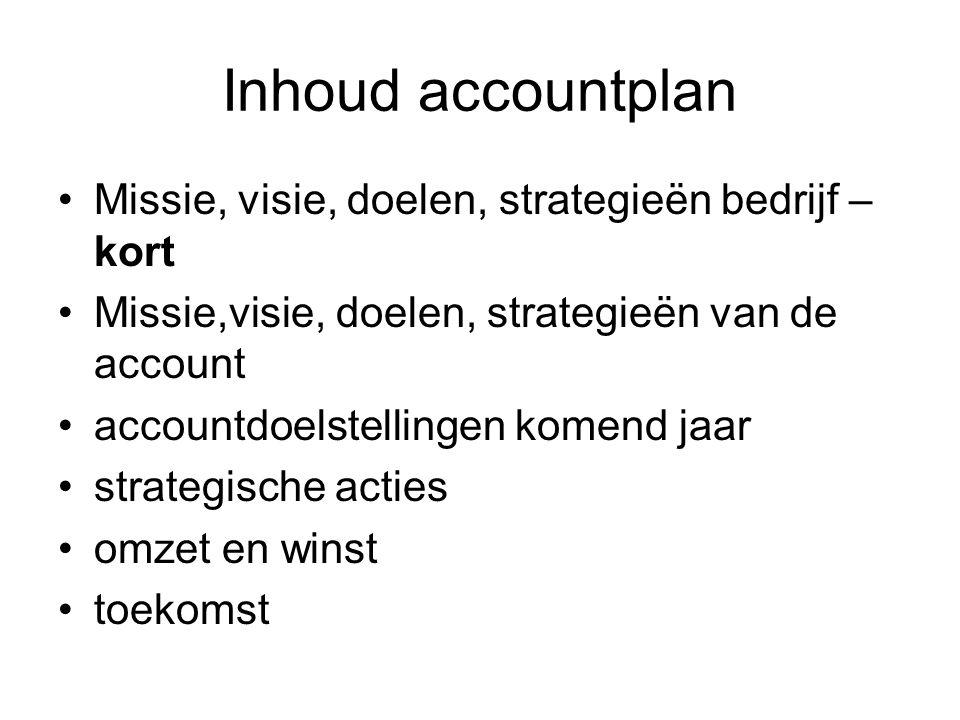 Inhoud accountplan Missie, visie, doelen, strategieën bedrijf – kort Missie,visie, doelen, strategieën van de account accountdoelstellingen komend jaar strategische acties omzet en winst toekomst