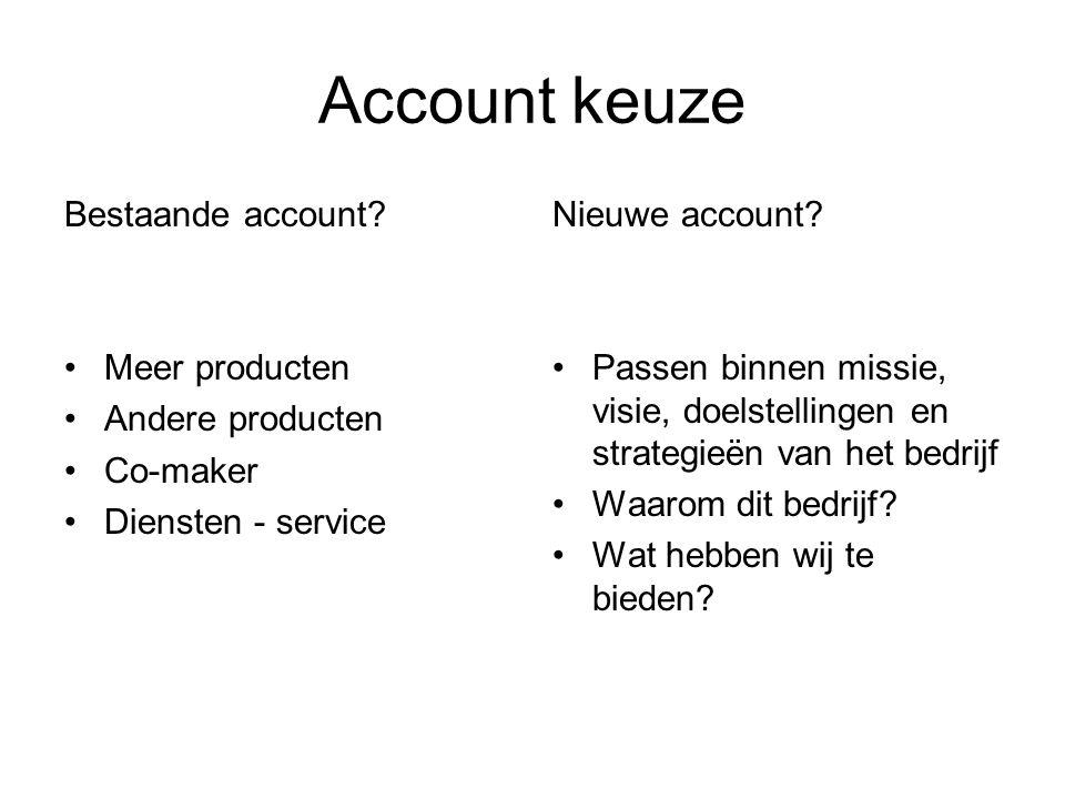 Account keuze Bestaande account.