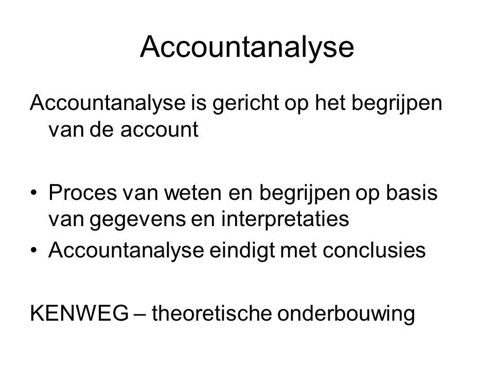 Accountanalyse Accountanalyse is gericht op het begrijpen van de account Proces van weten en begrijpen op basis van gegevens en interpretaties Accountanalyse eindigt met conclusies KENWEG – theoretische onderbouwing