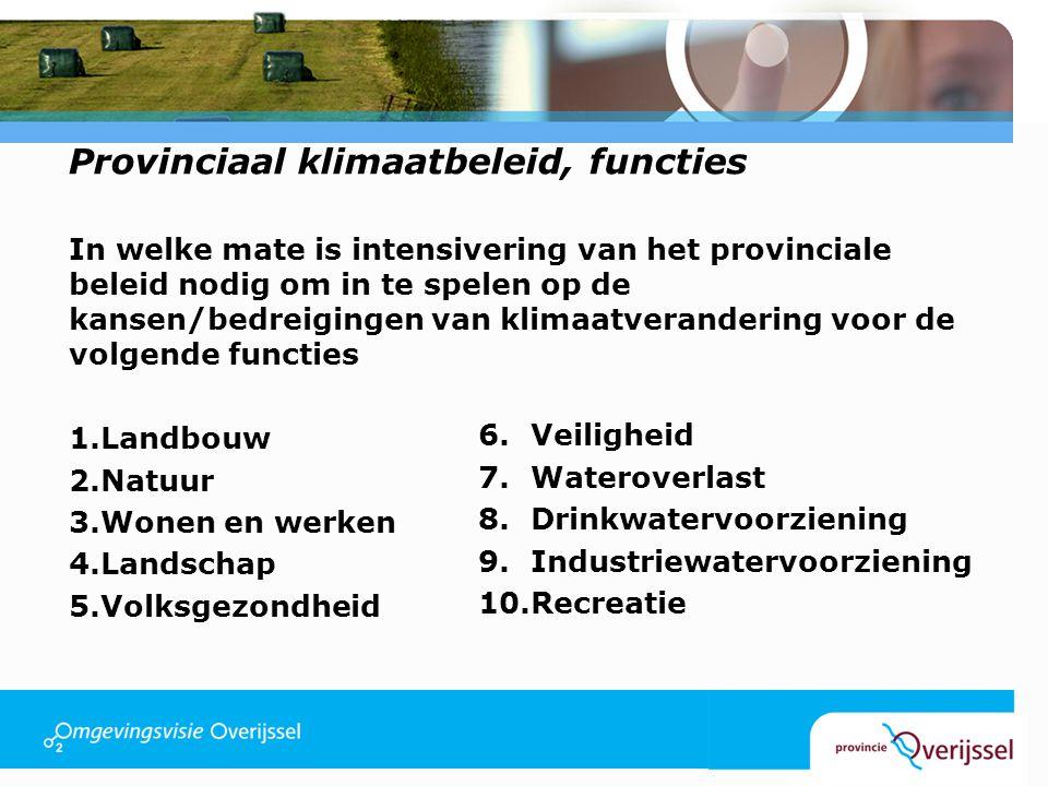 Provinciaal klimaatbeleid, functies In welke mate is intensivering van het provinciale beleid nodig om in te spelen op de kansen/bedreigingen van klim