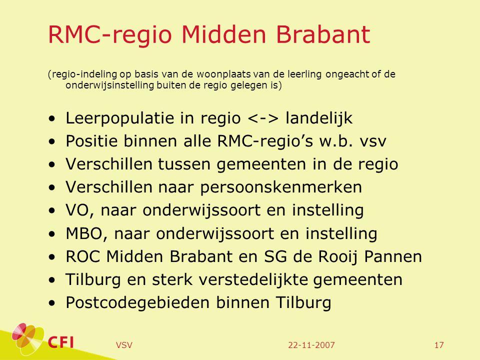 22-11-2007VSV17 RMC-regio Midden Brabant (regio-indeling op basis van de woonplaats van de leerling ongeacht of de onderwijsinstelling buiten de regio