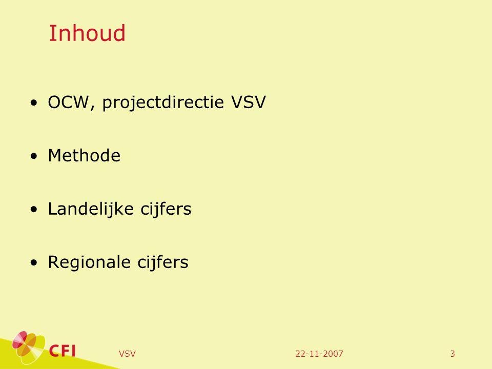 22-11-2007VSV4 Najaar 2005: projectdirectie VSV werkgroep meten is weten (met CBS, Inspectie, OCW en CFI) twee bestaande gegevensbronnen: EBB van CBS, en effectrapportage RMC-regio's mogelijkheden onderwijsnummer.