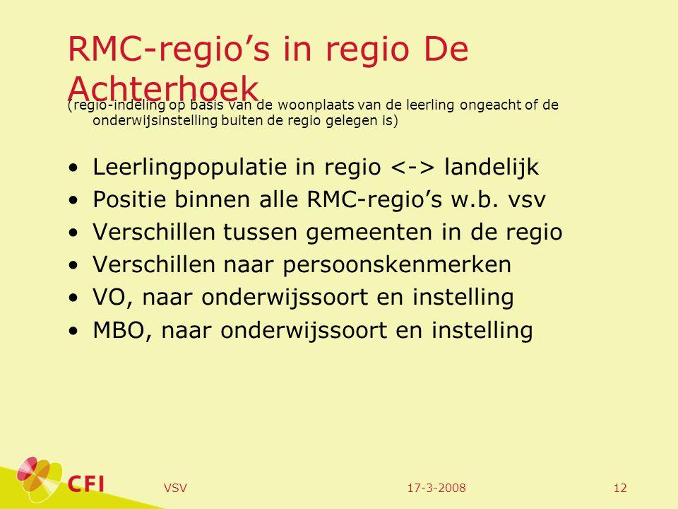17-3-2008VSV12 RMC-regio's in regio De Achterhoek (regio-indeling op basis van de woonplaats van de leerling ongeacht of de onderwijsinstelling buiten de regio gelegen is) Leerlingpopulatie in regio landelijk Positie binnen alle RMC-regio's w.b.
