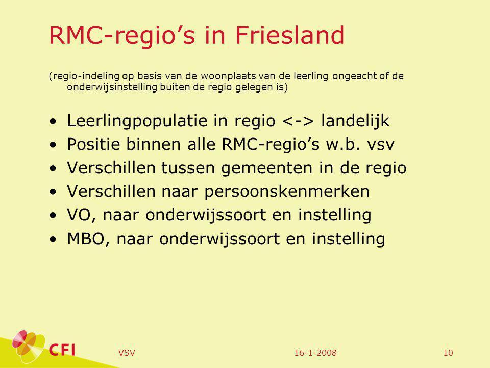 16-1-2008VSV10 RMC-regio's in Friesland (regio-indeling op basis van de woonplaats van de leerling ongeacht of de onderwijsinstelling buiten de regio