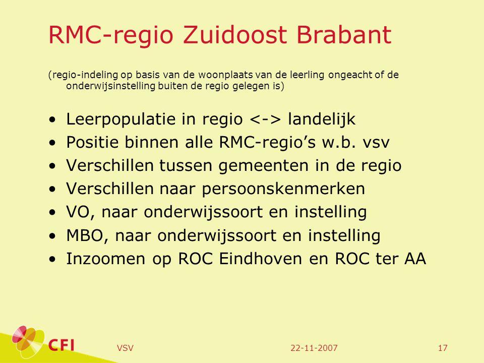 22-11-2007VSV17 RMC-regio Zuidoost Brabant (regio-indeling op basis van de woonplaats van de leerling ongeacht of de onderwijsinstelling buiten de regio gelegen is) Leerpopulatie in regio landelijk Positie binnen alle RMC-regio's w.b.