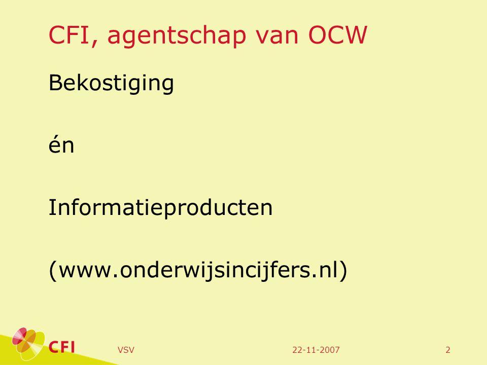 22-11-2007VSV2 CFI, agentschap van OCW Bekostiging én Informatieproducten (www.onderwijsincijfers.nl)