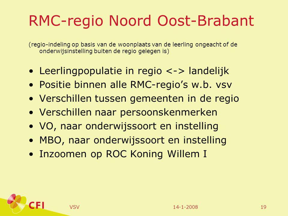 14-1-2008VSV19 RMC-regio Noord Oost-Brabant (regio-indeling op basis van de woonplaats van de leerling ongeacht of de onderwijsinstelling buiten de regio gelegen is) Leerlingpopulatie in regio landelijk Positie binnen alle RMC-regio's w.b.