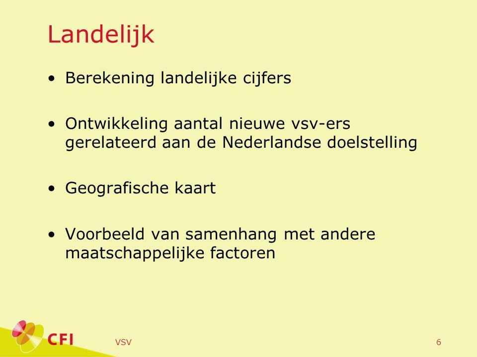 VSV6 Landelijk Berekening landelijke cijfers Ontwikkeling aantal nieuwe vsv-ers gerelateerd aan de Nederlandse doelstelling Geografische kaart Voorbeeld van samenhang met andere maatschappelijke factoren