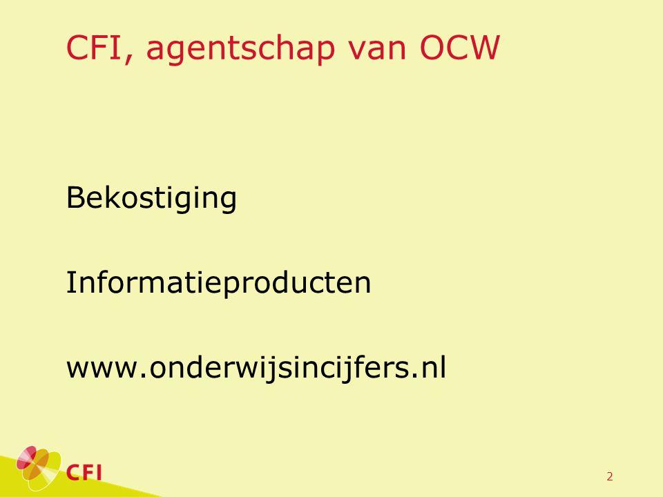 2 CFI, agentschap van OCW Bekostiging Informatieproducten www.onderwijsincijfers.nl