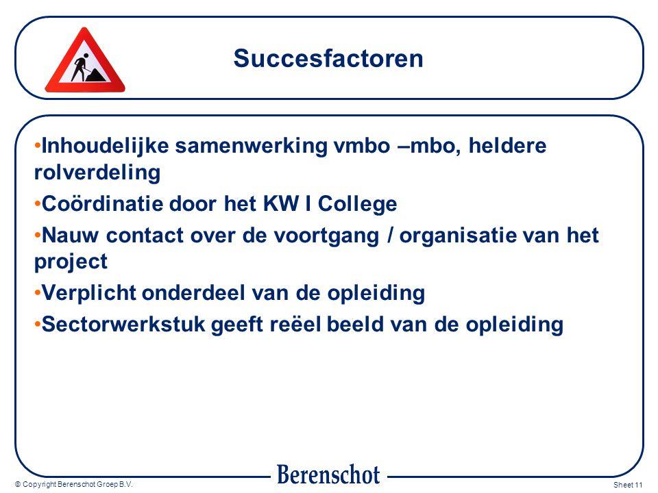 © Copyright Berenschot Groep B.V. Sheet 11 Succesfactoren Inhoudelijke samenwerking vmbo –mbo, heldere rolverdeling Coördinatie door het KW I College
