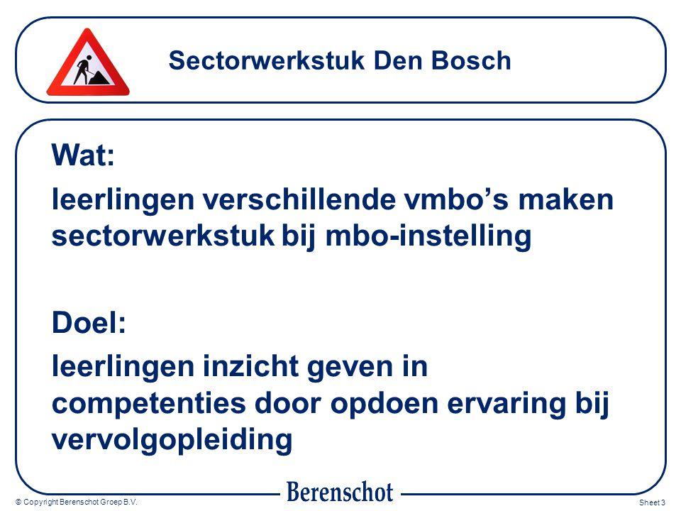 © Copyright Berenschot Groep B.V. Sheet 3 Sectorwerkstuk Den Bosch Wat: leerlingen verschillende vmbo's maken sectorwerkstuk bij mbo-instelling Doel: