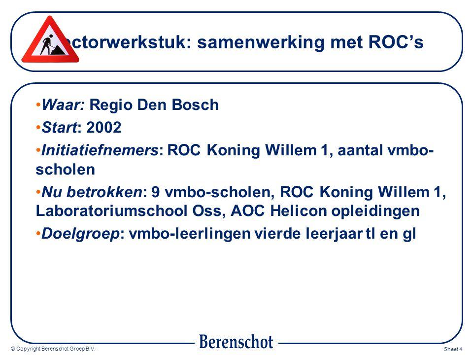 © Copyright Berenschot Groep B.V. Sheet 4 Sectorwerkstuk: samenwerking met ROC's Waar: Regio Den Bosch Start: 2002 Initiatiefnemers: ROC Koning Willem