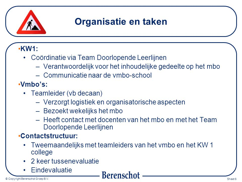 © Copyright Berenschot Groep B.V. Sheet 7 Organisatie schematisch